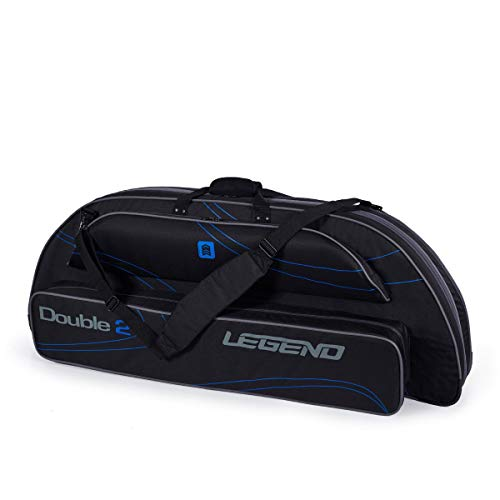 Legend Double2 Compound Bow Case for Two Bows - Archery Carry Bag with Protective Padding - Ripstop Nylon - Fits MTM Arrows Case, Hunting Accessories and Supplies (Black/Blue)