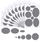 80 Pieces Down Jacket Patches Nylon Repair Tape Self-Adhesive Repair Patch with 8 Sizes for Jacket Tent Outerwear Repair, Round and Oval Shape (Dark Grey)