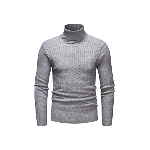 Kabby 2019 Winter Men's Sweater Men's Turtleneck Solid Color Casual Sweater Men's Slim Fit Knitted Pullovers,Dark Grey,L