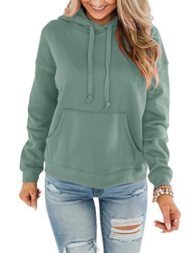 Bingerlily Women's Casual Hoodies Long Sleeve Solid Lightweight Pullover Tops Loose Sweatshirt with Pocket Mint Green