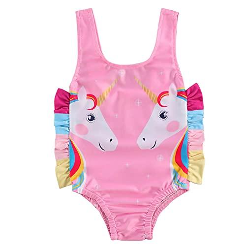 Brillabenny Costume da Bagno Bambina Mare Piscina Spiaggia Bimba Unicorno E Volant Rosa Fuxia Chic Luxury Baby (Rosa Intero, 3-4 Anni)