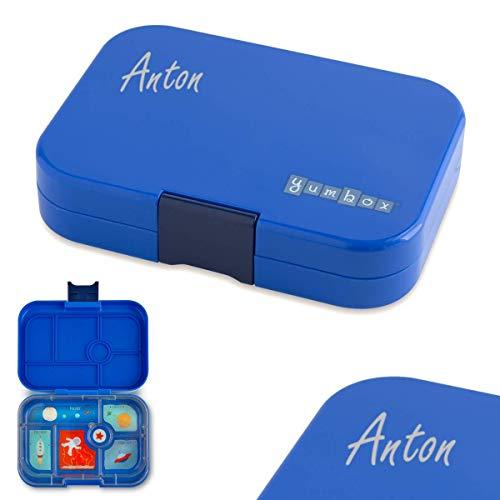 Anton & Sophie YUMBOX Original (mit 6 Fächern) - PERSONALISIERBAR - Brotbox/Lunchbox mit Fester Fächer-Unterteilung - auslaufsichere Brotdose für Schule - ideal zur Einschulung (Neptune Blue)