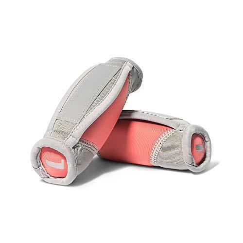 bebe Handgewichte zum Gehen, Laufen, Joggen, 2er Set | 0,9 kg Paar, 0,5 kg je Gewicht | weiches Neopren, reflektierender Gurt für Damen (Rosa/Grau)