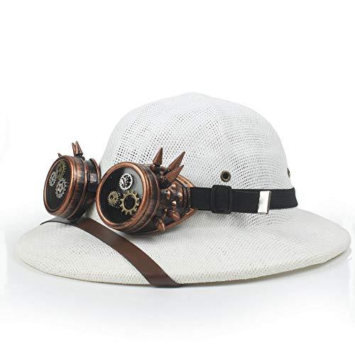XYAL-Hats Xingyue Aile Top hoeden & cowboy-mutsen, 2019 Steampunk glazen toquilla strohelm, trofee zonnehoed voor mannen, Vietnam legerhoed, papa boater emmer hoed, Safari Jungle Miners Cap
