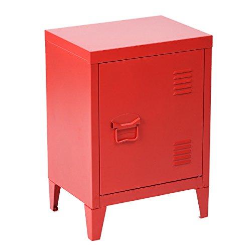 FurnitureR Locker Nightstand Schoolings Storage For Boys Girls Teens Portable Knob 2 Tier Cabinet Shelves,Size:15.9'' x 12'' x 22.6'',Red