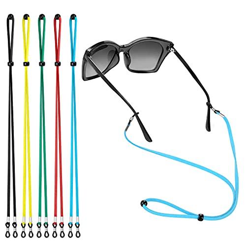 5PCS Premium Leather Eyeglass Straps, SpringSAW Adjustable Eyeglass Chains Lanyard, Anti-slip...