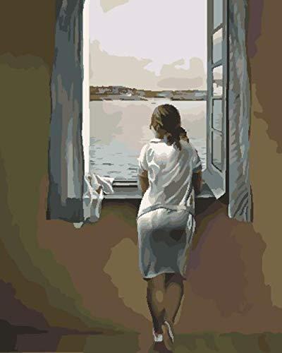 Pintar Por Número Geebird Mujer Mirando Por La Ventana Adultos Niños Para Diy Pintura Por Números Con Pinceles Y Pinturas Decoraciones Para El Hogar Sin Marco De 40 x 50 cm