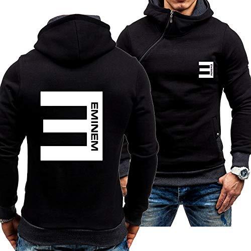 COZY LS Sudadera con Capucha para Hombre Sudadera con Capucha Zip Jerseys - Eminem Impreso Jersey De Béisbol De Manga Larga Chaqueta con Capucha Tapa De Capucha - Adolescentes Regalo Black-3X-Large