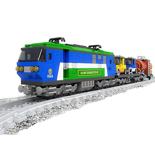Ditzz Zug Eisenbahn Bausteine, Zug Modell Bauset, Konstruktionsspielzeug Kompatibel mit Lego, 573+Teile