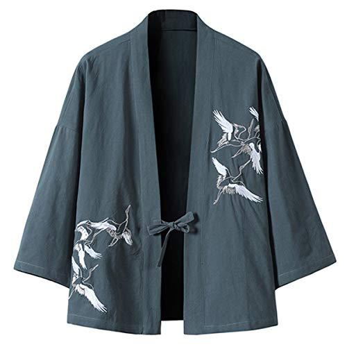 PRIJOUHE Men's Japanese Kimono Jacket Cardigan Yukata Noragi Casual Fashion Seven Sleeves Lightweight Open Front Coat