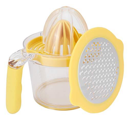 Exprimidor manual, exprimidor de cítricos naranja, con separador de yemas de huevo y rallador accesorio de cocina fácil de limpiar para uso doméstico en la cocina camping y viajes