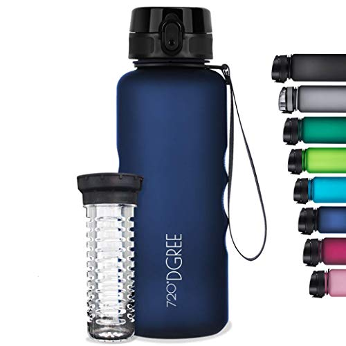 720°DGREE Botella de Agua uberBottle – 1,5 litros, 1500ml, Azul | Novedosa Botella Deportiva | Sin BPA | Ideal para niños, Fitness, Deportes, fútbol, guardería, Escuela, pequeños, antigoteo