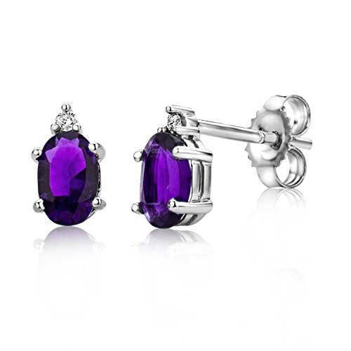 Miore earrings in 9 kt 375 white gold with oval precious stones and brilliant cut natural diamonds