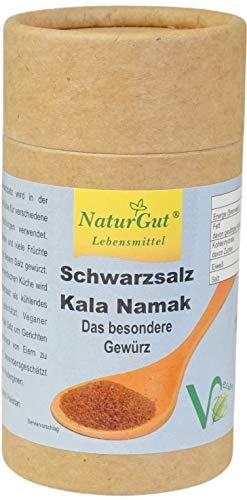 Schwarzsalz Kala Namak gemahlen 120g Salzstreuer Bestandteil zahlreicher Gerichte der ayurvedischen Küche und besonders bei Veganern geschätzt