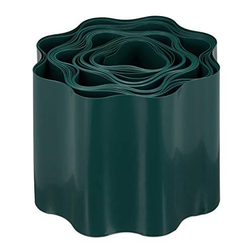 Relaxdays, grün Flexible Rasenkante, wellige Beeteinfassung aus Kunststoff, Umrandung für Rasen & Beet, HT: 10 x 900 cm