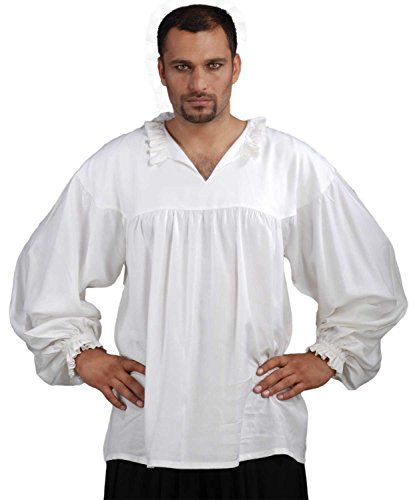 ThePirateDressing Medieval Poet's Pirate Early Renaissance Shirt Costume [White] (XX-Large)