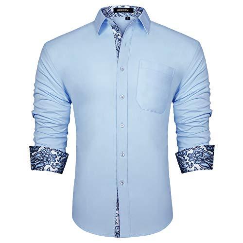 HISDERN Camicia Formale da Uomo Abito Classico Abbottonato Camicie Casual Colletto Manica Lunga vestibilità Regolare Paisley