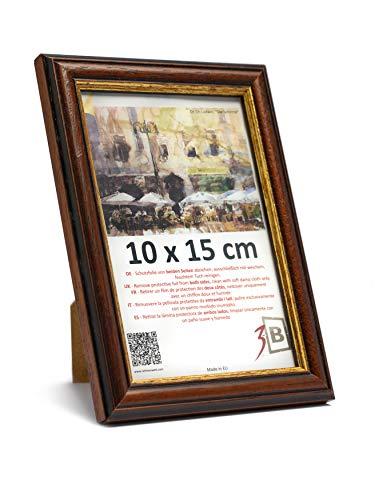 3-B Bilderrahmen BARI RUSTIKAL - dunkel braun - 10x15 cm - Holzrahmen, Fotorahmen, Portraitrahmen mit Plexiglas