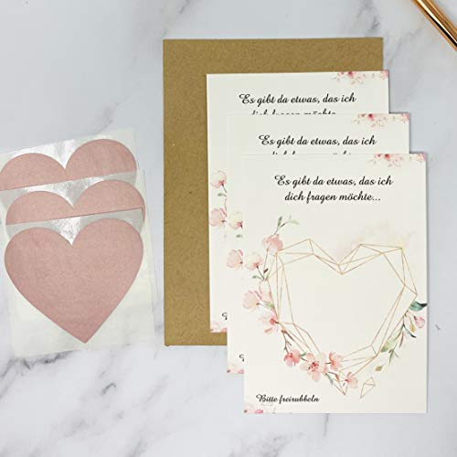 Rubbelkarten zum selber beschriften und personalisieren rosa Roségold Kirschblüten 3er Pack