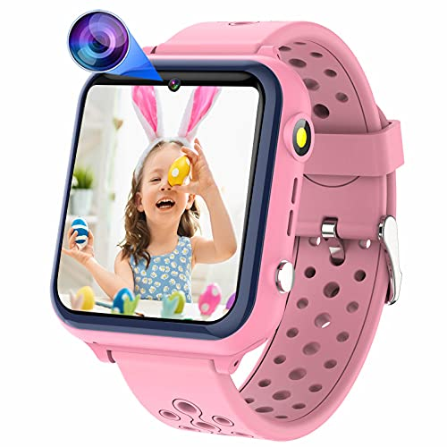 Smart Watch for Kids Touchscreen - Boy Girls Smartwatch with Phone Calls 11 Intelligent Games & Video Camera Music Player Torch Alarm Timer & 10 Language Change, Perfect for 3-12 Years (Pink)