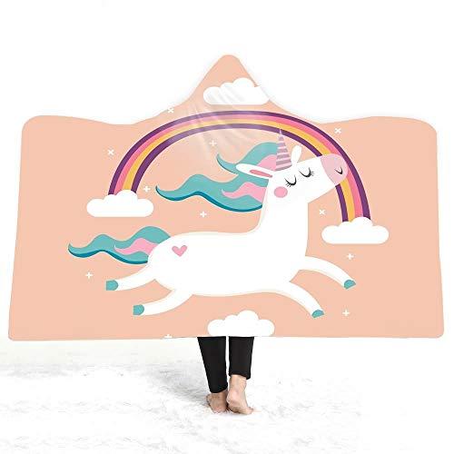 Lovely Badjas deken Badjas Blanket Unicorn Gedrukt Hooded Deken Winter Warm Pluche Cloak Wearable Bath Kinderen Adult Throw hjm yupaotangzi (Color : 13, Size : 130 * 150)