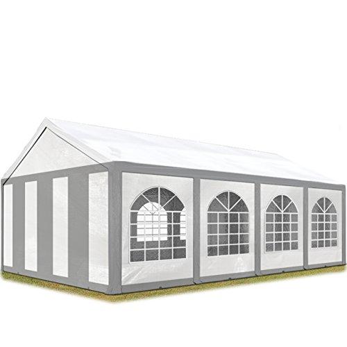 TOOLPORT Hochwertiges Partyzelt 4x8 m Pavillon Zelt 240g/m² PE Plane Gartenzelt Festzelt Bierzelt Wasserdicht grau-weiß