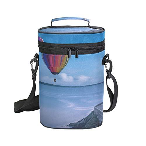 Montoj Luftballon und Leuchtturm, tragbar, für 2 Flaschen, gepolstert, vielseitig verwendbar, isolierte Weintasche