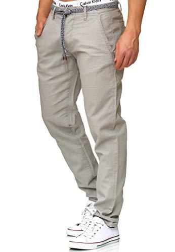 Indicode Herren Bryne Stoffhose aus Leinen & Baumwolle mit 4 Taschen | Lange Regular Fit Hose Herrenhose Sommerhose Leinenhose Baumwollhose mit Kordel-Gürtel Freizeithose für Männer Lt Grey L