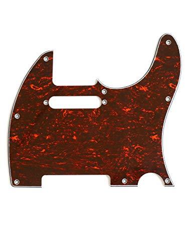 Metallor Schlagbrett für E-Gitarre, 3-lagig, 8 Löcher, einspulig, kompatibel mit Telecaster-Elektro-Gitarren (rote Schildkröte)