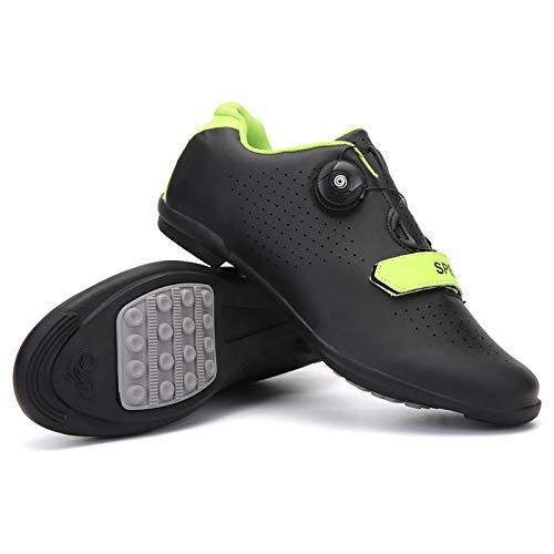 KUXUAN Zapatillas de Ciclismo,Zapatos de Bicicleta de Carretera Ligeros Profesionales,Zapatillas de Carreras Atléticas de Bicicleta de Montaña para Adultos Antideslizantes,Black-43EU=(265mm)