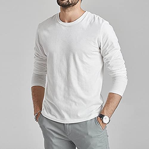 CLJKJDS Camisetas De Manga Larga Hombres Mujeres 100% Algodón Verano Camisetas Cortas Sólido Básico Suave Masculino Camiseta T Shirt Slim Fit Plain tee Shirt Otoño