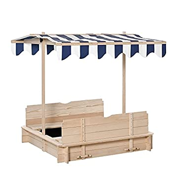 Outsunny Wooden Kids Sandbox w/ Cover Adjustable Canopy Convertible Bench Seat Bottom Liner