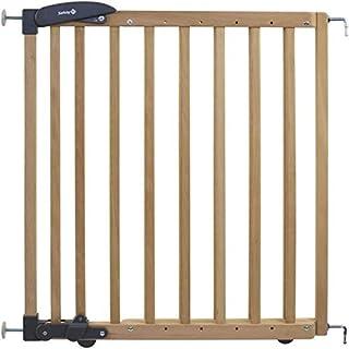 Safety 1st 2436010000 - Barrera de seguridad para escaleras (extensor de instalación doble, de madera, fijación sin agujeros, longitud: 69-104 cm), color marrón