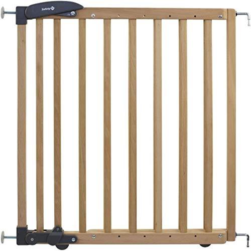 Safety 1st - Barrera de seguridad para escaleras (extendida de instalación doble, rejilla de madera para fijación sin taladrar, longitud: 69-104 cm), color marrón