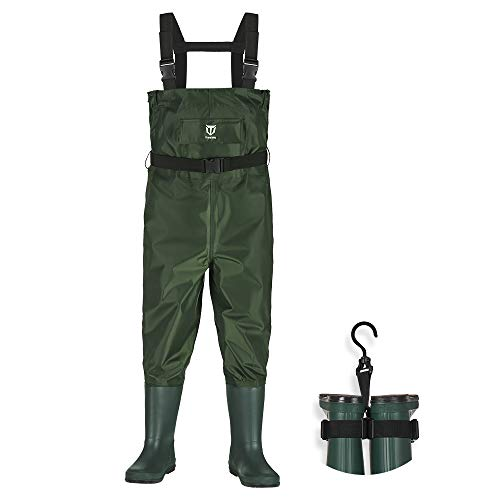 TIDEWE Chest Waders for Kids, Waterproof Youth Waders with Boot Hanger, Lightweight Durable PVC Kids Chest Waders with Boot for Fishing & Hunting (Size 8/9 Big Kid)