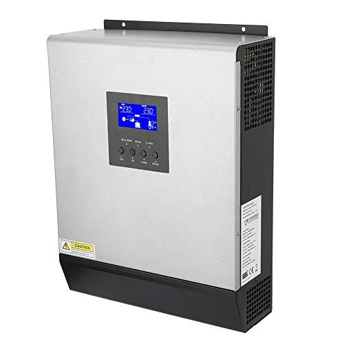 Oumij Hybrid-Wechselrichter 3KVA 2400W Hochfrequenz-Hybrid-Rein-Sinus-Wechselrichter Eingebauter Solarregler 50A 24V