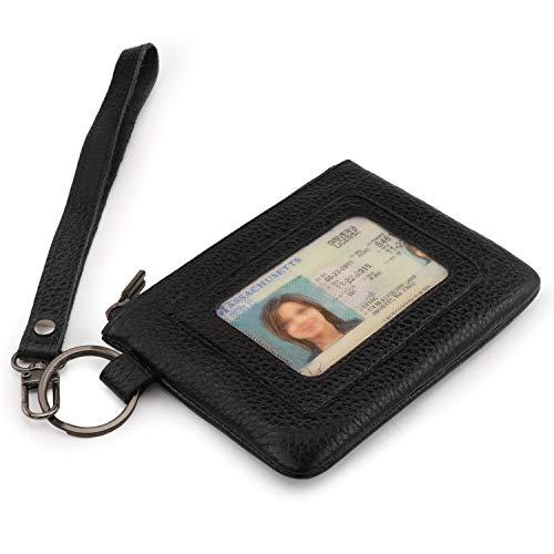 Otto Angelino Geldbörse aus echtem Leder mit Reißverschluss und Armband - Unisex (Schwarz)