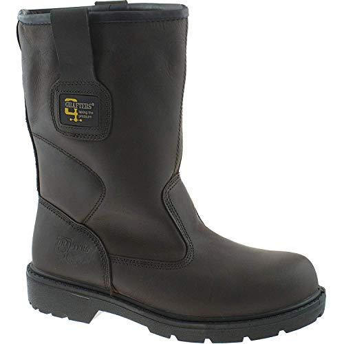 MENS GRAFTERS WATERPROOF BROWN LEATHER SAFETY RIGGER BOOTS SIZE UK10/EU44 M560B