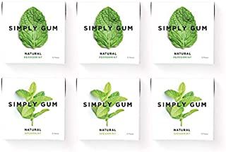 Simply Gum   Natural Chewing Gum   Variety Pack - Peppermint, Spearmint   Pack of Six (90 Pieces Total)   Plant-Based + Aspartame-Free + non-GMO