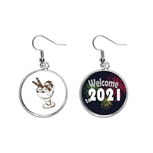 Barra de chocolate marrón Ice Glass Ball Ear Colgantes Pendiente Joyería 2021 bendición