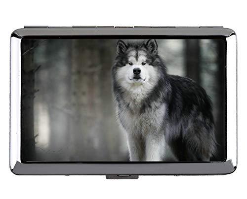 Estuche de Almacenamiento Creativo, Tarjeta de Acero Inoxidable para Perros Husky para Mascotas (tamaño King)