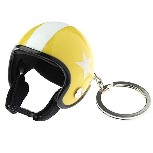 Schlüsselanhänger Motorrad Helme Mini Sicherheit Hut mit Stern Muster Schlüsselanhänger Auto Schlüsselanhänger für Frauen Männer Schmuck Gelb