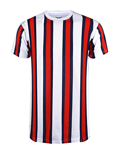 SCREENSHOTBRAND-S11904 Mens Hipster Hip-Hop Premium Tee - Luxury Longline Vertical Stripe Print T-Shirt-White/Stripe-XLarge