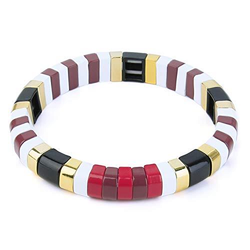 KANYEE African Style Streifen Tube Stretch Armbänder Emaille Fliesen Colorblock Perlen Elastic Stacking Armreif Schmuck Geschenk für Frauen