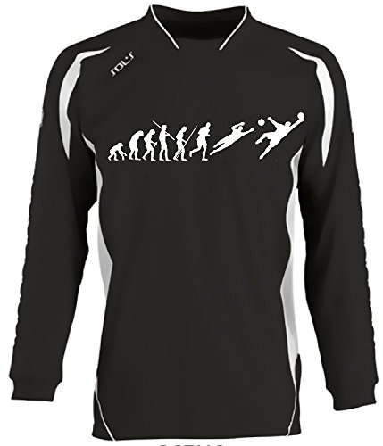 Coole-Fun-T-Shirts Torwart Evolution Kinder Torwarttrikot schwarz, Kids 10-12 Jahre
