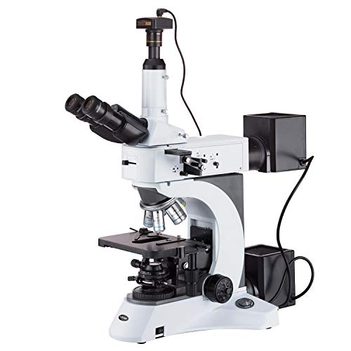AmScope ME520TA-9M Digital Episcopic and Diascopic Trinocular Metallurgical Microscope, 50X-1500X Magnification, EW10x and EW15x Extreme Widefield Eyepieces, Infinity Plan Long Working Distance Objectives, Kohler Condenser, Brightfield/Darkfield/Polarizing Halogen Illumination with Rheostat, Extra-Large Double-Layer Mechanical Stage, 110V, Includes 9MP Camera with Reduction Lens and Software