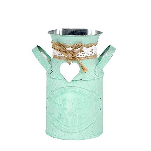 NA Vase Eisen Blumentopf Eimer Lagerung Barrel Simulierte Garten Blumentopf Vase Sukkulente Pflanze Fass Home Decor Grün