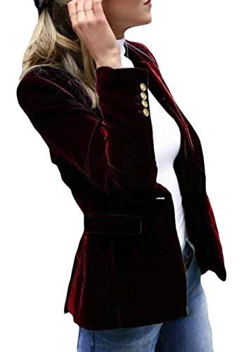 Sweetmini dames slank getande revers een knop jas velours blazer jassen