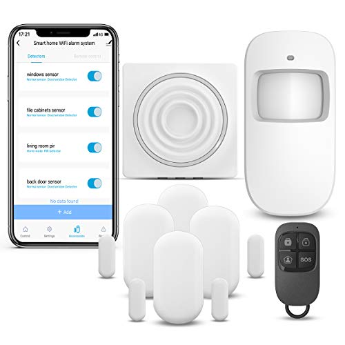 WiFi Alarm System Kits Smart Security System, Compatible with Alexa, APP Control,1 PIR Motion Sensor, 1 Remote, 4 Door Sensor and 1 Hub only Support 2.4G WiFi