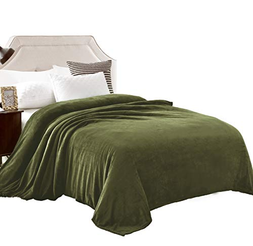 "Exclusivo Mezcla Queen Size Flannel Fleece Velvet Plush Bed Blanket as Bedspread/Coverlet/Bed Cover (90"" x 90"", Olive Green) - Soft, Lightweight, Warm and Cozy"